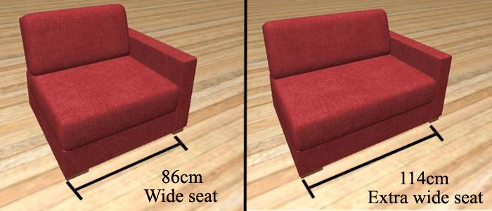 Sofa seat sizes