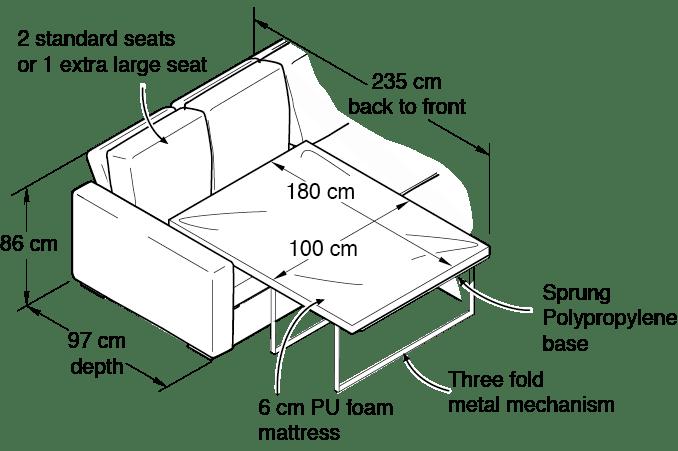 Single Corner Sofa Bed Dimensions