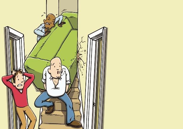 Practical ways to get a sofa through the door